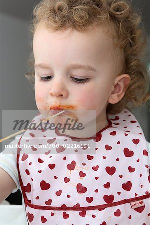 Baby Eating Spaghetti Stock Photo - Rights-Managed, Image code: 700-02216101