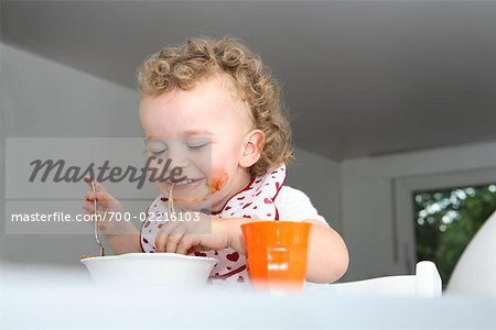 Baby Eating Spaghetti Stock Photo - Rights-Managed, Image code: 700-02216103