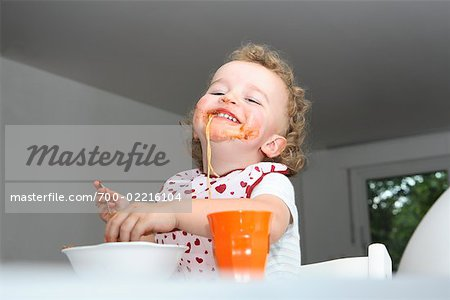 Baby Eating Spaghetti Stock Photo - Rights-Managed, Image code: 700-02216104
