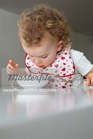 Baby Eating Spaghetti Stock Photo - Rights-Managed, Image code: 700-02216106