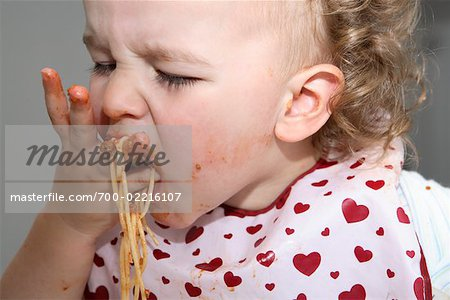 Baby Eating Spaghetti Stock Photo - Rights-Managed, Image code: 700-02216107