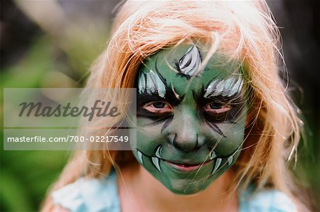 Girl with Painted Face, Costa Mesa, California, USA Stock Photo - Rights-Managed, Image code: 700-02217549