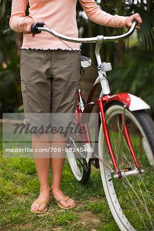 Woman Standing With Cruiser Bike, Encinitas, San Diego County, California, USA Stock Photo - Rights-Managed, Image code: 700-02245466