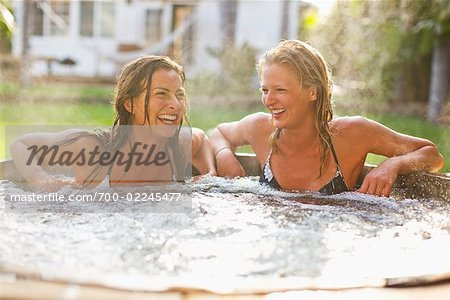 Women Sitting in a Hot Tub, Encinitas, San Diego County, California, USA