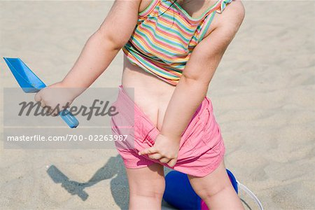 Little Girl on the Beach Pulling Down shorts, New Jersey, USA Stock Photo - Rights-Managed, Image code: 700-02263987