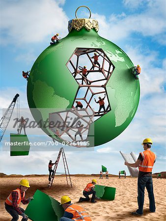 Construction Workers Building a Christmas Ornament Globe