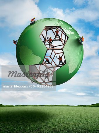 Construction Workers Building a Globe Stock Photo - Rights-Managed, Image code: 700-02264968