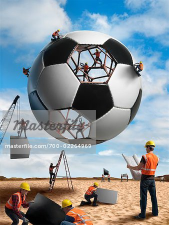 Construction Workers Building a Soccer ball Stock Photo - Rights-Managed, Image code: 700-02264969