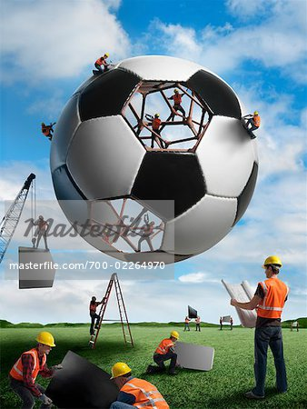 Construction Workers Building a Soccer Ball Stock Photo - Rights-Managed, Image code: 700-02264970