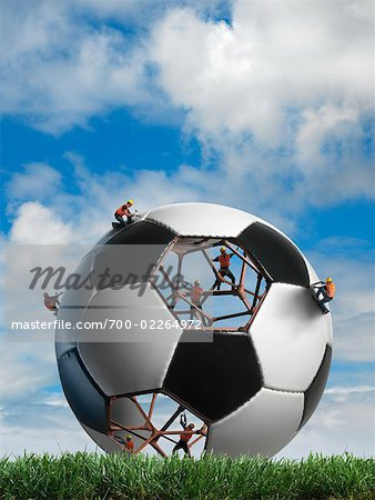 Construction Workers Building a Soccer ball Stock Photo - Rights-Managed, Image code: 700-02264972