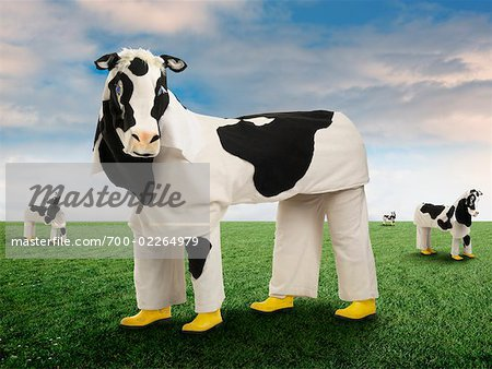 People Wearing Cow Costumes Standing in Pasture Stock Photo - Rights-Managed, Image code: 700-02264979