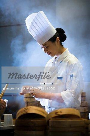 Chef Preparing Dim Sum, Parkview Restaurant, Shilla Seoul Hotel, Seoul, South Korea