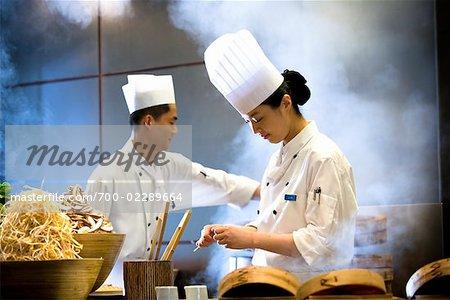 Chefs Preparing Dim Sum, Parkview Restaurant, Shilla Seoul Hotel, Seoul, South Korea