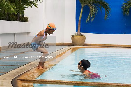 Girls Playing in Pool Stock Photo - Rights-Managed, Image code: 700-02314925