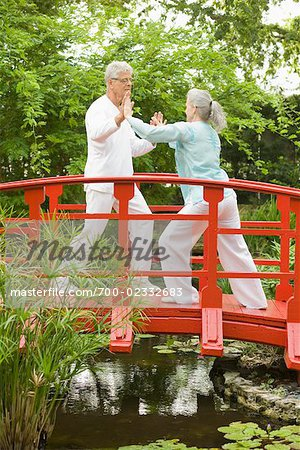 Couple Practicing Tai Chi on Footbridge Stock Photo - Rights-Managed, Image code: 700-02332683