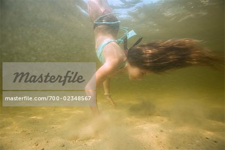 Little Girl Doing Handstand Underwater, Long Lake, Naples, Maine, USA Stock Photo - Rights-Managed, Image code: 700-02348567
