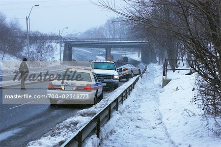 Winter Car Accident Scene, Toronto, Ontario, Canada Stock Photo - Rights-Managed, Image code: 700-02348773