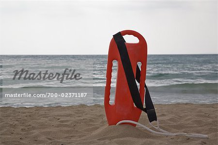 Lifeguard's Floatation Device on the Beach, Mallorca, Baleares, Spain Stock Photo - Rights-Managed, Image code: 700-02371187