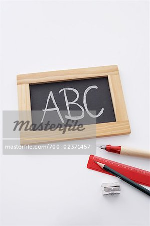 Slate Board, Pencil and Ruler Stock Photo - Rights-Managed, Image code: 700-02371457