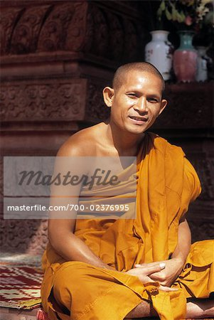 Portrait of Monk at Angkor Wat, Angor, Cambodia Stock Photo - Rights-Managed, Image code: 700-02376995