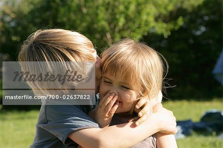 Little Boy Kissing His Sister on the Cheek, Normandy, France Stock Photo - Rights-Managed, Image code: 700-02637822