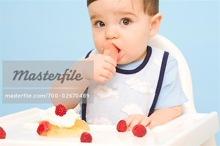 Baby Chewing on Toy in High Chair Stock Photo - Rights-Managed, Image code: 700-02670489