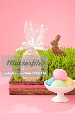 Easter Eggs and Cookies, and Chocolate Bunny Stock Photo - Rights-Managed, Image code: 700-02693980