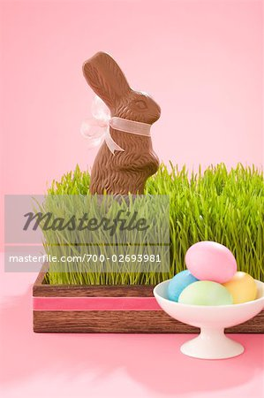 Easter Eggs and Chocolate Bunny Stock Photo - Rights-Managed, Image code: 700-02693981