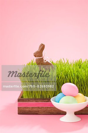 Easter Eggs and Chocolate Bunny Stock Photo - Rights-Managed, Image code: 700-02693982