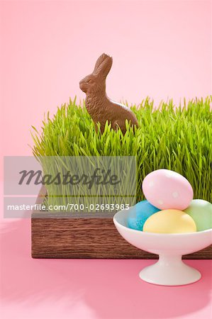 Easter Eggs and Chocolate Bunny Stock Photo - Rights-Managed, Image code: 700-02693983