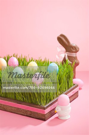 Easter Eggs in Tray Filled with Grass and Chocolate Easter Bunny Stock Photo - Rights-Managed, Image code: 700-02694066