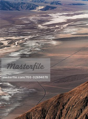 Aerial View of Road Through Desert, Death Valley National Park, California, USA Stock Photo - Rights-Managed, Image code: 700-02694070