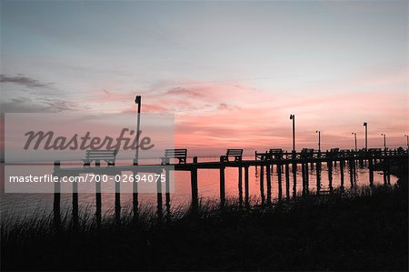 Benches on Pier at Dusk, Chincoteague, Virginia, USA Stock Photo - Rights-Managed, Image code: 700-02694075