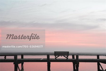 Bench on Pier at Dusk, Chincoteague, Virginia, USA Stock Photo - Rights-Managed, Image code: 700-02694077