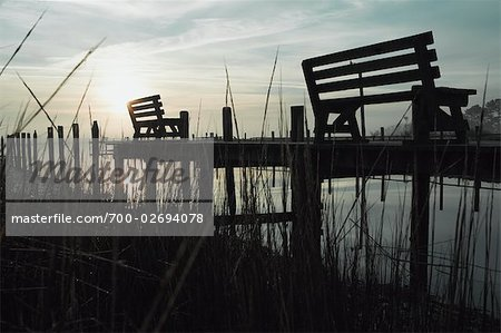 Benches on Pier at Dusk, Chincoteague, Virginia, USA Stock Photo - Rights-Managed, Image code: 700-02694078