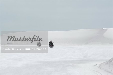 Motorcyclists Riding Through Desert, White Sands National Monument, New Mexico, USA Stock Photo - Rights-Managed, Image code: 700-02694093