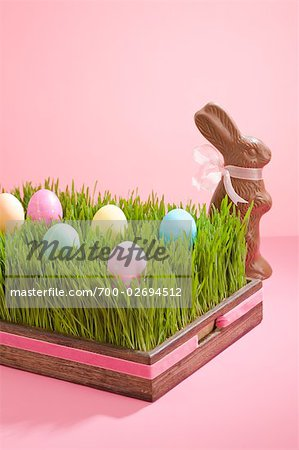 Easter Eggs and Chocolate Bunny Stock Photo - Rights-Managed, Image code: 700-02694512