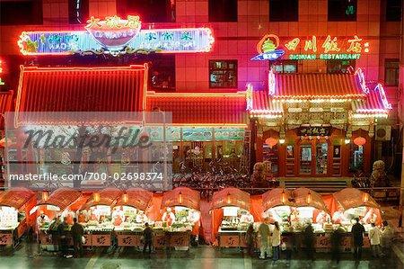Busy Night Market and Restaurants, Wangfujing Dajie, Donghuamen Night Market, Beijing, China