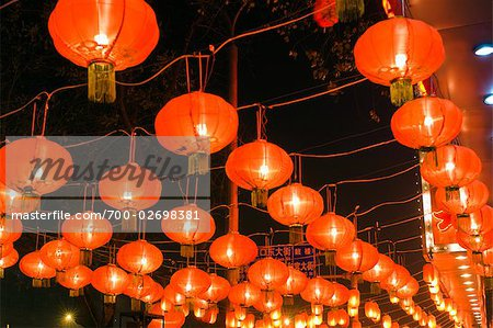 Red Chinese Lanterns in Restaurant at Night, Beijing, China