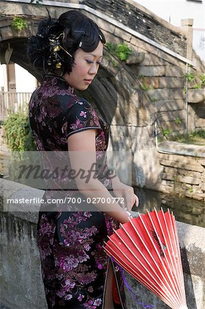 Woman With a Parasol in Suzhou, China