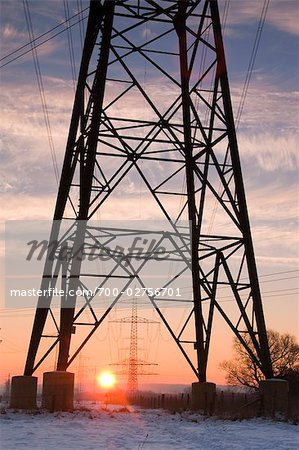 Old Willow Trees and High Voltage Hydro Tower at Sunrise, Siegburg, North Rhine-Westphalia, Germany Stock Photo - Rights-Managed, Image code: 700-02756701