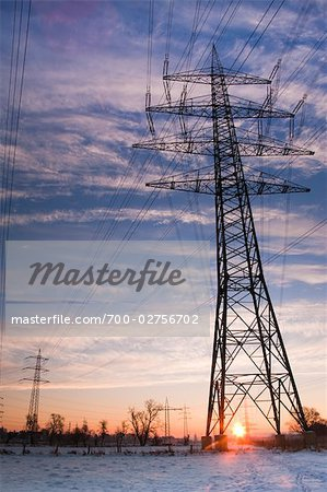 Old Willow Trees and High Voltage Hydro Tower at Sunrise, Siegburg, North Rhine-Westphalia, Germany Stock Photo - Rights-Managed, Image code: 700-02756702