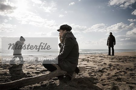 Family on Beach in Winter, Lazio, Rome, Italy Stock Photo - Rights-Managed, Image code: 700-02757167