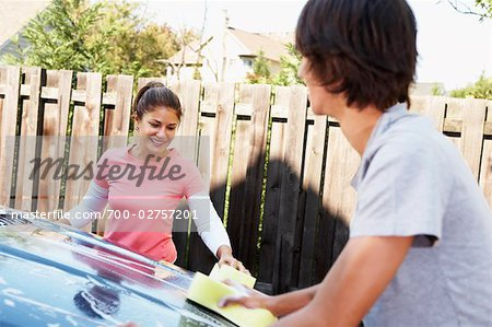 Woman and Teenage Son Washing Car Stock Photo - Rights-Managed, Image code: 700-02757201