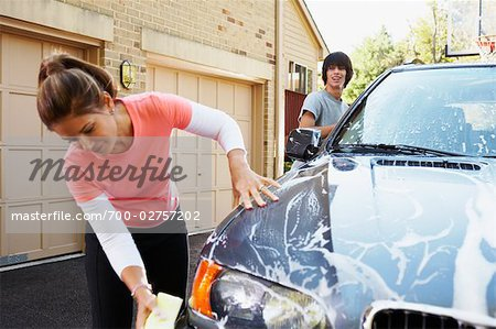 Mother and Teenage Son Washing Car Stock Photo - Rights-Managed, Image code: 700-02757202