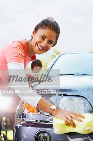 Woman Washing Car Stock Photo - Rights-Managed, Image code: 700-02757203