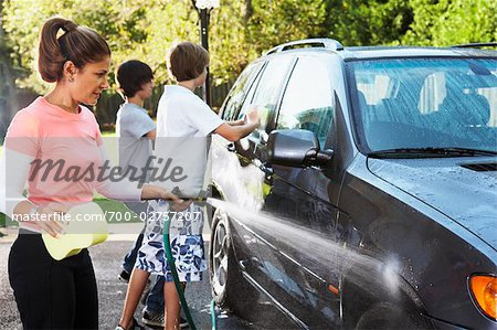 Woman and Teenage Sons Washing Car Stock Photo - Rights-Managed, Image code: 700-02757207