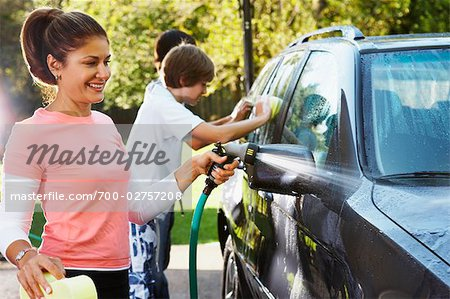 Woman and Teenage Sons Washing Car Stock Photo - Rights-Managed, Image code: 700-02757208