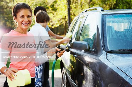 Woman and Teenage Sons Washing Car Stock Photo - Rights-Managed, Image code: 700-02757209