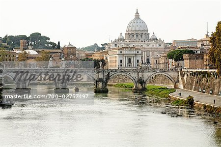 Ponte Sant Angelo, St Peter's Basilica, Rome, Latium, Italy Stock Photo - Rights-Managed, Image code: 700-02757497
